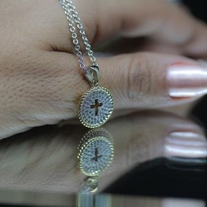 14KT Gold Dipped Two Tone CZ Pave Necklace